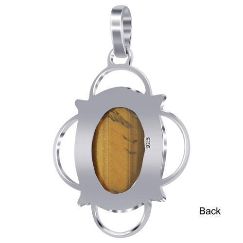 925 Sterling Silver Tigers Eye Bali Design Pendant