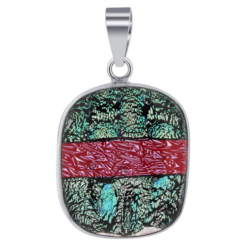 925 Silver Bali Design Pink and Green Druzy Glass Pendant