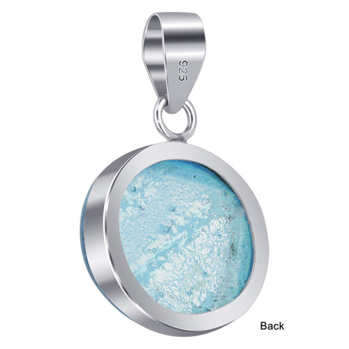 925 Sterling Silver Circle Shape Druzy Glass Pendant