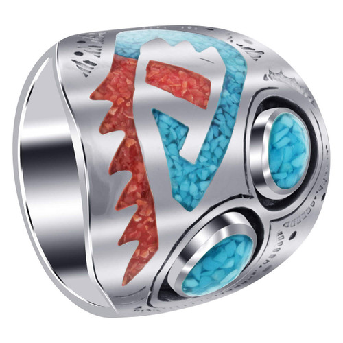 Men's Southwestern Style Turquoise & Coral Gemstone Chip Inlay Sterling Silver Ring