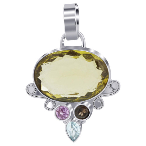 925 Silver Genuine Oval Cut Citrine Bali Design Pendant
