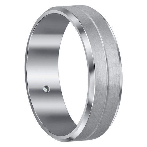 Men's Stainless Steel Cubic Zirconia Brushed Design 7mm Comfort Fit Band