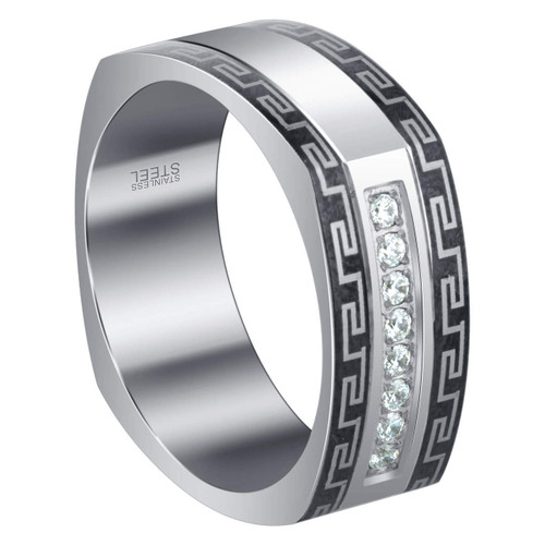 Men's Stainless Steel CZ Greek Key Design 9mm Band with Raised Edge