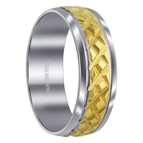 Men's Stainless Steel Two Tone Diamond Embossed 8 mm Comfort Fit Band