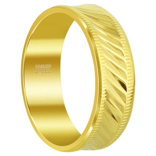 Men's Stainless Steel Gold Tone 8 mm Comfort Fit Band with Ribbed Design