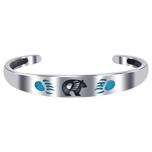 Turquoise Gemstone Chip Inlay Bear Claw Print Women's Cuff 925 Sterling Silver Bracelet