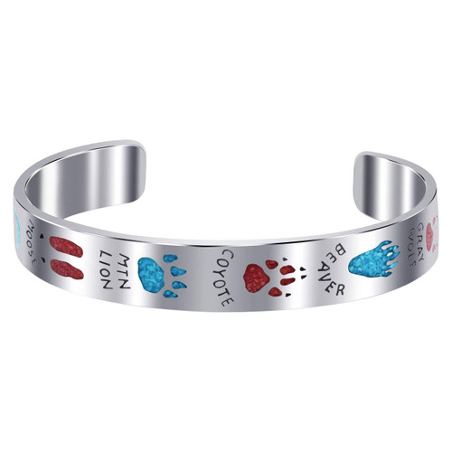 925 Silver Turquoise & Coral Gemstone Chip Inlay Animal Track Guide Cuff Bracelet