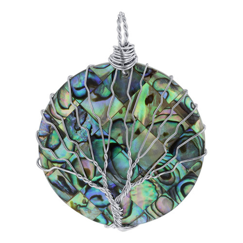 Abalone Shell Tree of Life Handmade Pendant wiith Stainless Steel