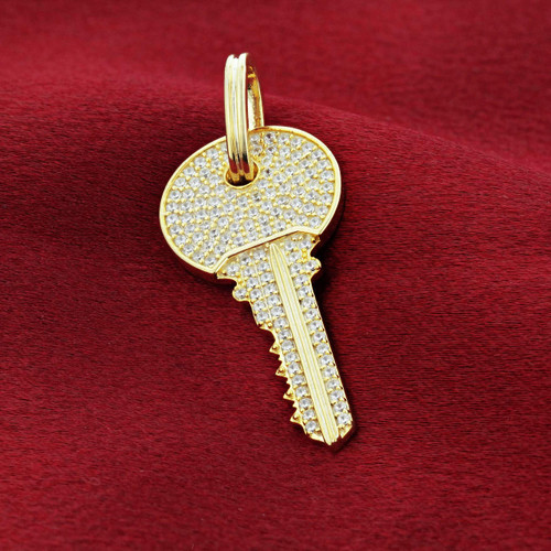 925 Silver Vermeil Cubic Zirconia Gold Tone Key Pendant with Pave Set