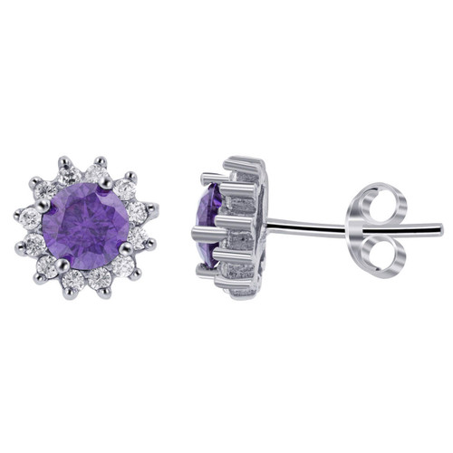 925 Silver 1 CTW Purple Cubic Zirconia Accents Floral Stud Earrings