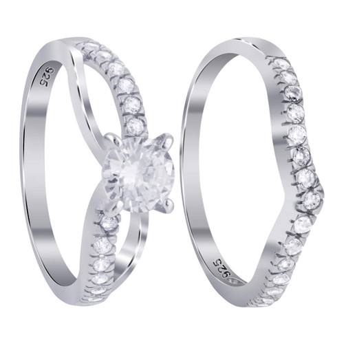 925 Silver 4-Prong Cubic Zirconia with CZ accents 8mm Wedding Ring Set