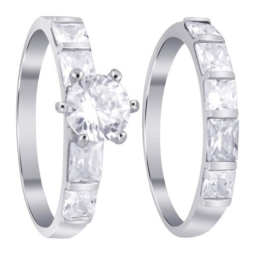 925 Sterling Silver 6-Prong Cubic Zirconia Promise Wedding Ring Set