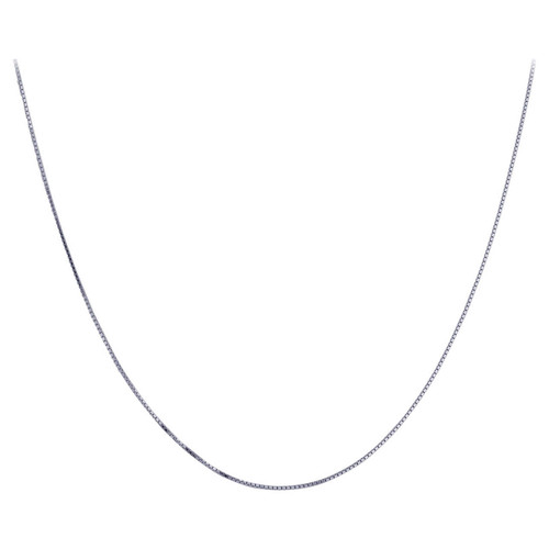 925 Silver Rhodium Plated 1mm Box Chain Necklace Spring Ring Clasp
