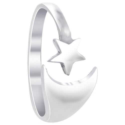 925 Silver Polished Finish Crescent Moon and Star Ring