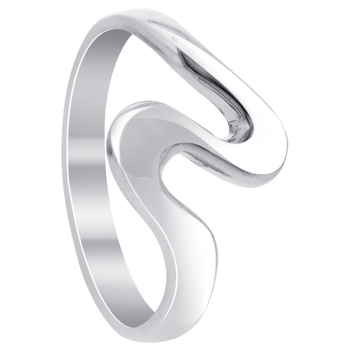925 Silver Polished Finish 23mm Curvy Front Ring