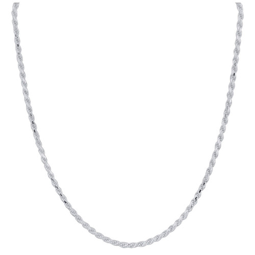 Sterling Silver 3mm Rope Chain Necklace with Lobster Clasp