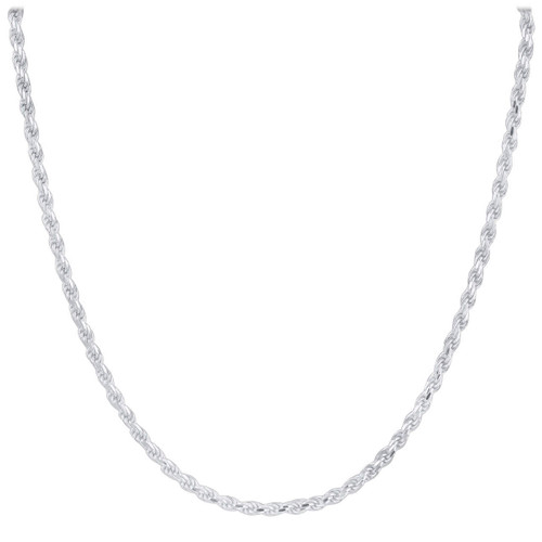 Sterling Silver 3.5mm Rope Chain Necklace with Lobster Clasp