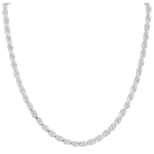 Sterling Silver 4mm Rope Chain Necklace with Lobster Clasp