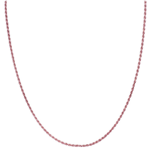 925 Silver Rose Gold Plated 1.5mm Rope Chain Necklace in Lobster Clasp
