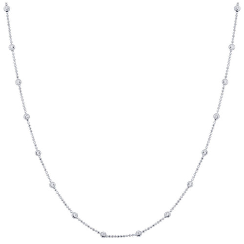925 Silver Rhodium Plated Moon Cut Bead Chain Necklace with Lobster Clasp