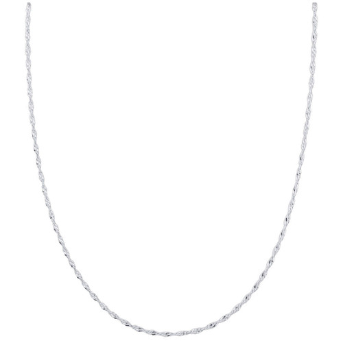 Rhodium Plated Sterling Silver 1mm Singapore Chain Necklace with Lobster Clasp