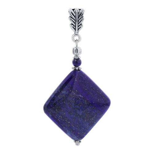 Square Blue Lapis Gemstone Pendant with Ornate Stainless Steel Bail