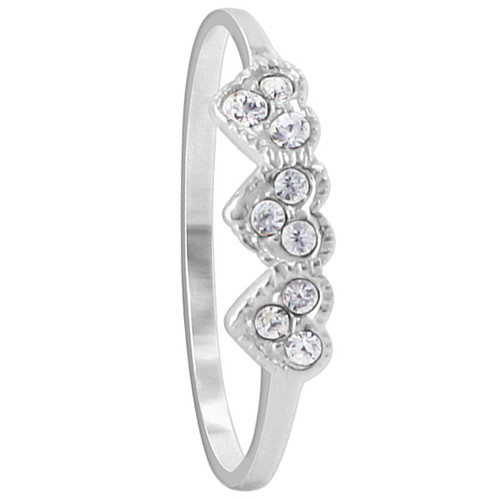 925 Silver Cubic Zirconia 4mm Front Hearts Ring