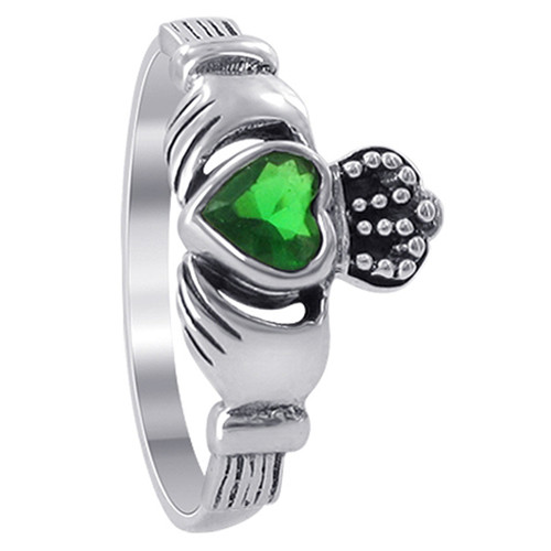 925 Sterling Silver 6mm x 11mm Emerald Color Cubic Zirconia Claddagh Ring