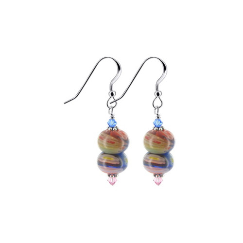 925 Sterling Silver Swarovski Crystals Millefiori Glass Multicolor Drop Earrings