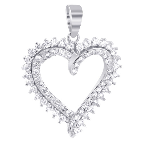 925 Sterling Silver CZ Cubic Zirconia Heart Pendant