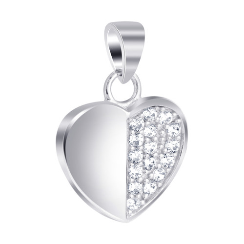 Sterling Silver Half Pave Cubic Zirconia Heart Pendant