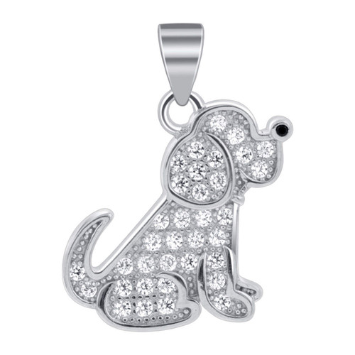 Sterling Silver Puppy Dog Pendant  Cubic Zirconia with Pave set