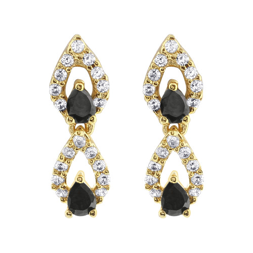 Gold Plated Black Glass 15 - 17 Inch Necklace Bollywood Indian Earrings Set