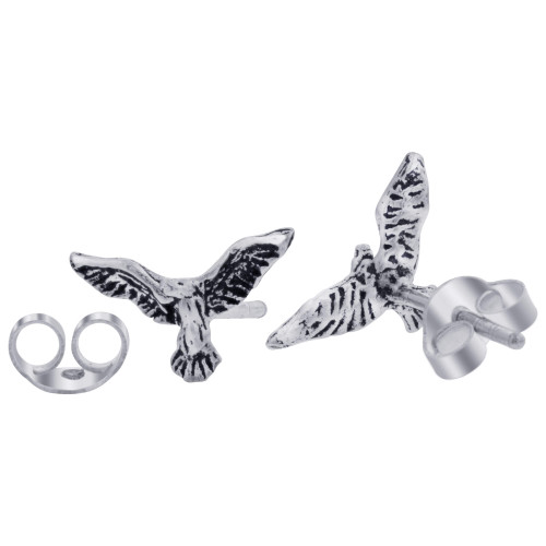 .925 Sterling Silver Eagle Post back Stud Earrings