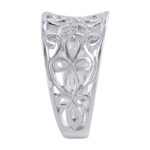 925 Sterling Silver 11mm wide Flower and Swirls Design Ring