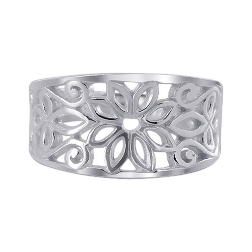 925 Silver 11mm wide Flower and Swirls Design Ring