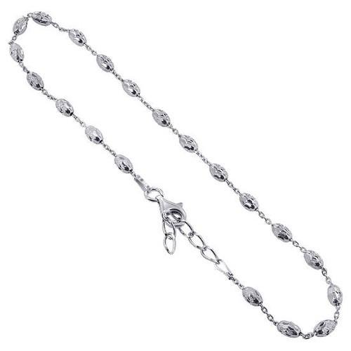 925 Sterling Silver link with 3mm Faceted Beads Anklet