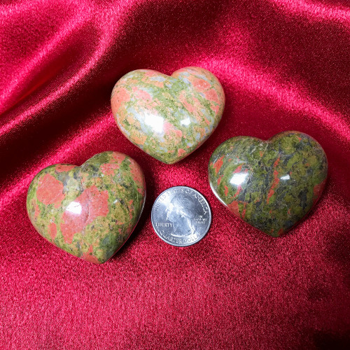 ONE Natural Unakite Polished Pocket Gemstone Crystal Puff Heart 45mm X 40mm Palm Stone