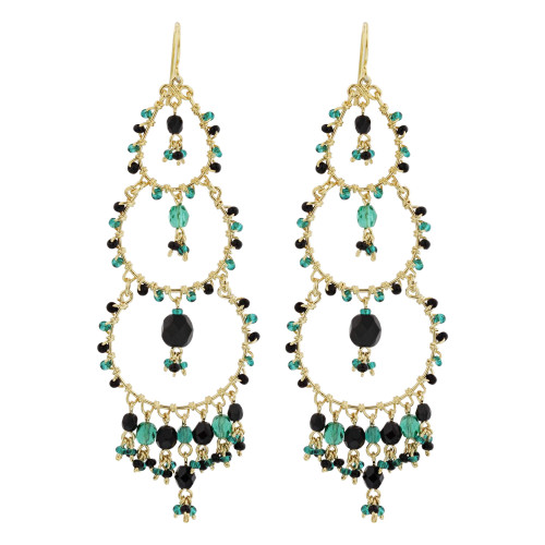 "Black & Green Seed Bead Handmade 3.5"" Chandelier French Hook Earrings"