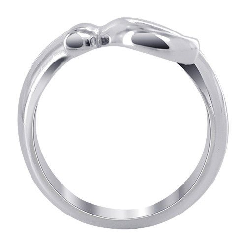 925 Sterling Silver 12mm Front open Swirl design Ring