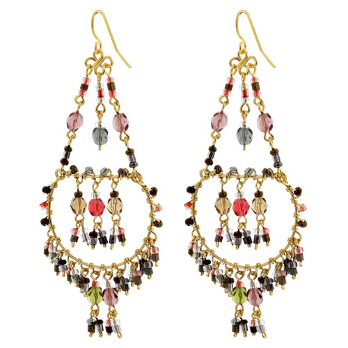Multicolor Seed Bead Handmade 3 inch Chandelier Earrings in French Hook