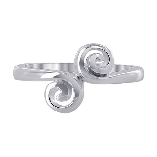 925 Sterling Silver 6mm Front Swirl design Ring #MRRS008