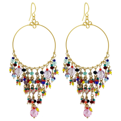 "Multicolor Seed Bead Handmade 3"" Chandelier French Hook Earrings"