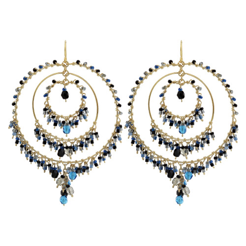 "Multi Seed Bead Handmade 3.25"" Chandelier French Hook Earrings"