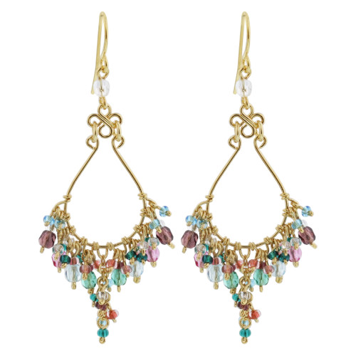 Multi Seed Bead Handmade 2.25 Inch Chandelier French Hook Earrings