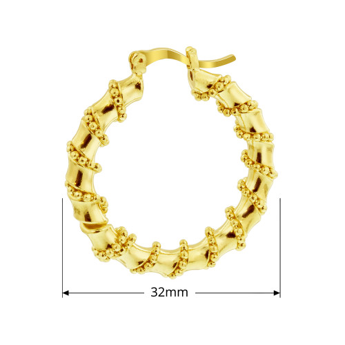 18K Gold Layered Coral Shape Hoop Earrings in Ball Chain (32mm Diameter)