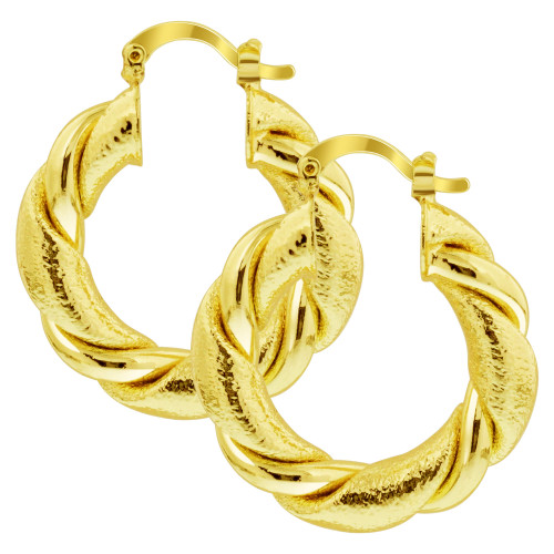 18K Gold Layered Wide Semicircle Simple Hoop Earrings (32mm Diameter)