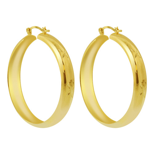 18K Gold Layered Four Leaf Etching Design Hoop Earrings(46mm Diameter)