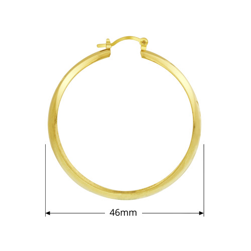 18K Gold Layered Four Leaf Etching Design Hoop Earring (46mm Diameter)