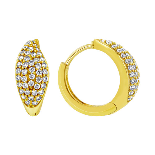 18K Gold Layered Cubic Zirconia 14mm Huggies Earrings (14mm Diameter)